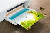 picture of time machine  - Printer with green leaf and butterfly  - JPG