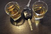 foto of offensive  - two whiskey shots on the bar shelf with car key between them - JPG