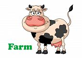 image of moo-cow  - Cartoon farm cow isolated on white background for farming or fresh products design - JPG