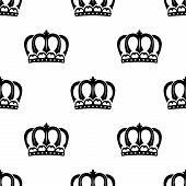 stock photo of crown jewels  - Ornate heraldic seamless pattern of royal crowns isolated over white background for wallpaper - JPG
