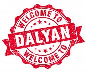picture of dalyan  - welcome to Dalyan red vintage isolated seal - JPG