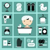 image of personal care  - Set of vector icons of bathroom and personal care - JPG