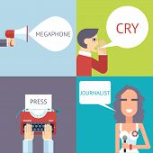 stock photo of mass media  - Mass Media Symbol Megaphone speech Bubble Cry Man Boy Press Hand Typewriter Journalist Female Girl Icon on Stylish Background Modern Flat Design Template Vector Illustration - JPG