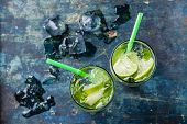 stock photo of mojito  - Glass of iced Mojito cocktail with mint on blue background - JPG