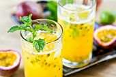 foto of passion fruit  - Fresh Passion fruit with Lychee and Lime Mojito - JPG