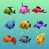 pic of game-fish  - Cute colorful cartoon fishes - JPG
