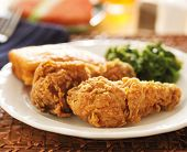 foto of fried chicken  - fried chicken with collard greens and corn bread - JPG