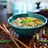 picture of curry chicken  - thai green curry with chicken in bowl - JPG