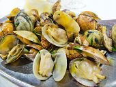 stock photo of nea  - Clams mariniere style. A typical mediterr�nea dish.