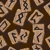 picture of rune  - Norwegian runes Abstract vector background with Template for greeting cards - JPG
