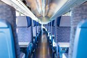 stock photo of high-speed train  - Modern european economy class fast train interior - JPG