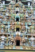 foto of tamil  - Details of exquisite colorful sculpture on tower Jambkeshwara Temple Tiruchirapalli Tamil Nadu India Asia
