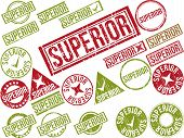 stock photo of pompous  - Collection of 22 red grunge rubber stamps with text  - JPG