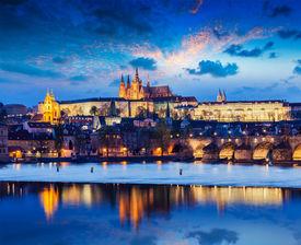 stock photo of nightfall  - Travel Prague Europe concept background  - JPG