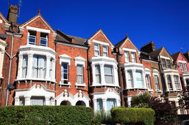 pic of suburban city  - Victorian terraced town houses in London - JPG