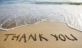 picture of grating  - thank you words written on the sand of the beach - JPG