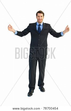 Smiling businessman holding something with his hands on white backcground