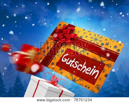 Composite image of flying gift card and presents against snow falling on fir tree forest