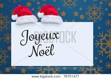 Joyeux noel against snowflake wallpaper pattern