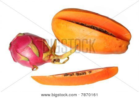 Dragon Fruit (red Pitaya) And Papaya