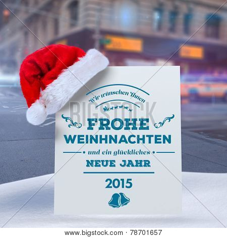 German christmas greeting against blurred new york street