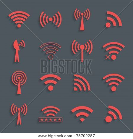 Set Of Different Red Vector Wifi Icons For Communication And Rem