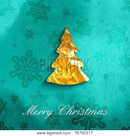 vector illustration of a Xmas poster with golden foil Christmas