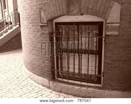 schwarz Tür Beacon Fenster sepia