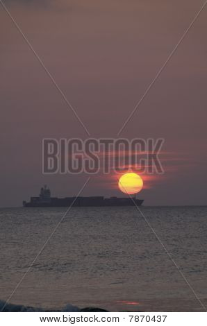 Ship With Yellow Sun
