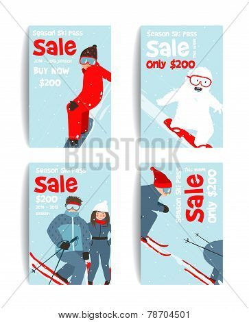 Skier and Snowboarder Fun Winter Sport Flyer Design Template