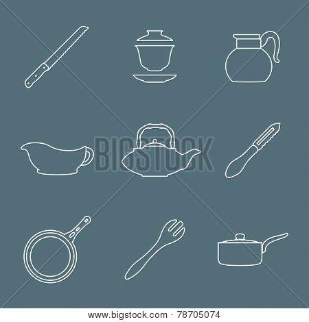 outline design dinnerware icons set