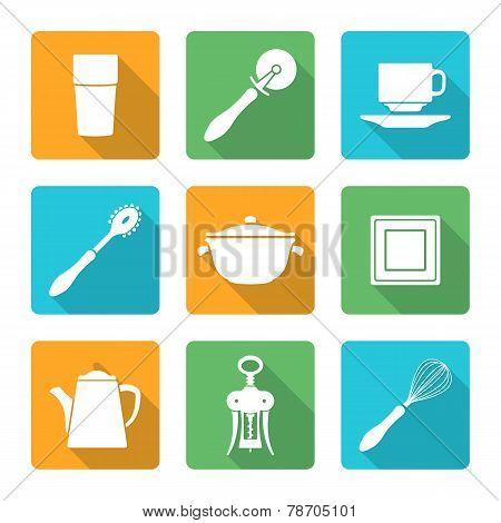 flat style white design dinnerware icons set