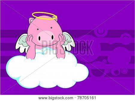 baby pig angel cartoon background