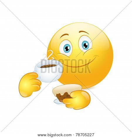 Emoticon drinking coffee with cake