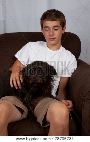 Teenager With A Dog