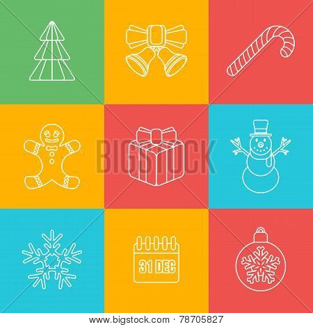 christmas outline icon set on colored back