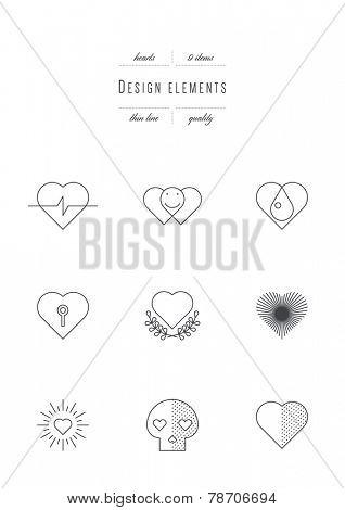 Vector set - design elements. Hearts. Thin line (variable line width)
