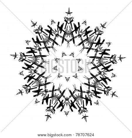 Lace black ethnic ornament drawn coal