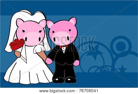 pig married cartoon background