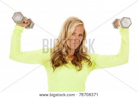 Blond Woman Green Top Fitness Flex Weights Look