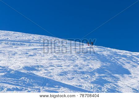 Ski Alpinist In Alpine Winter Scene