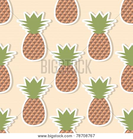 Pineapple Pattern. Seamless Texture With Ripe Red Pineapples