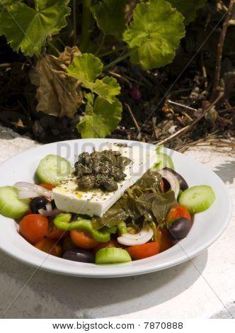 Greek Salad In Sunlight Santorini
