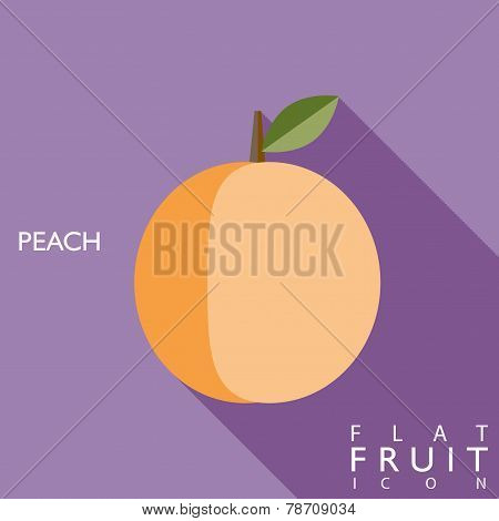 Peach Flat Icon Illustration With Long Shadow