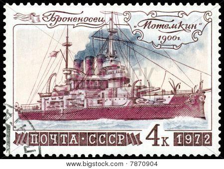 """Vintage  Postage Stamp. Battleship """" Potemkin """""""