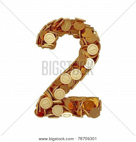 Alphabet Number Digit Two 2 With Golden Coins Isolated On White Background