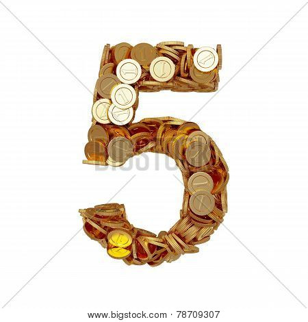Alphabet Number Digit Five 5 With Golden Coins Isolated On White Background