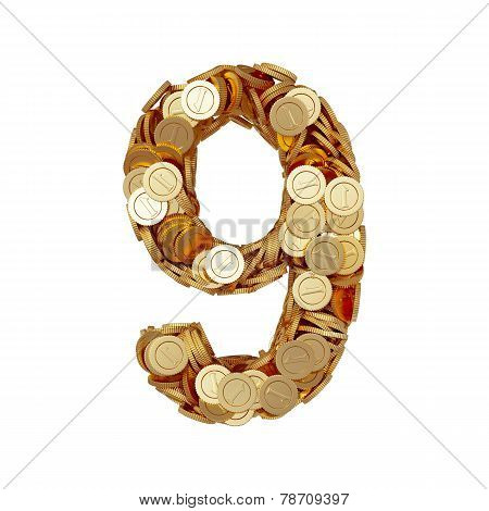 Alphabet Number Digit Nine 9 With Golden Coins Isolated On White Background