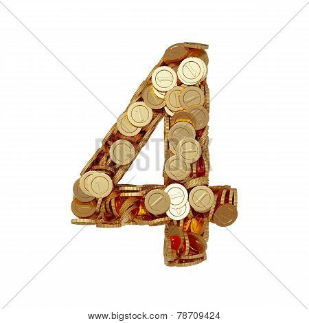 Alphabet Number Digit Four 4 With Golden Coins Isolated On White Background