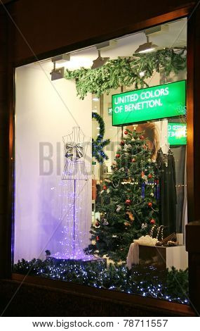 Christmas Decoration Showcase Store Benetton Nizhny Novgorod